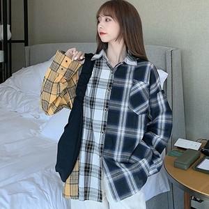 【トップス】ファッション折襟切り替えチェック柄シングルブレストシャツ38474265