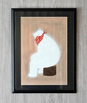 切り株に座るクマ B4額装済み絵画