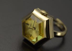 【ビンテージ時計】1974年3月製造 セイコー指輪時計 イエローカットガラス(若干カケあり)が綺麗な6角フェイス