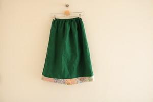 BASE販売記念/送料無料 【オーダーメイド】お好きなカラーリネンで作るリバティパッチワークのギャザースカート
