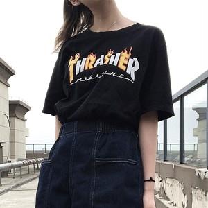 【トップス】シンプル半袖ファッション英字図柄プリントストリート系男女兼用Tシャツ