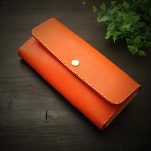 オレンジ三つ折り長財布 国産牛本革/Made in Japan Bateisha