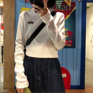 【トップス】超人気韓国系無地長袖ショート丈ラウンドネックTシャツ23271893