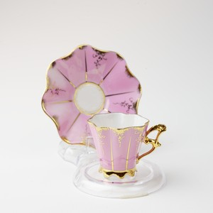 Unknown  窯不明 ピンク ビンテージ デミタスカップソーサー 【不明】 アンティーク コーヒーカップ ティーカップ レトロ