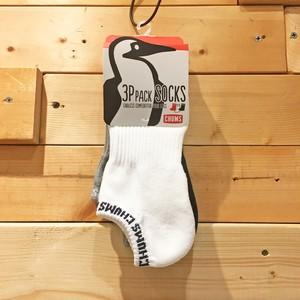 "CHUMS チャムス ""3P Lib Logo Ankle Socks""  抗菌 防臭 靴下 3足セット アンクル ソックス CH06-1050 くつ下 下着 アンダーウェア オールドスクール メンズ レディース"