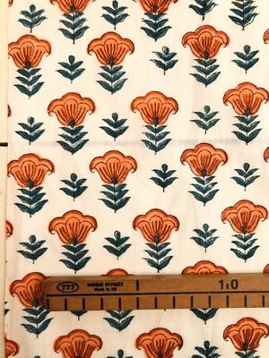 【NEW】Block print オレンジ色の花模様