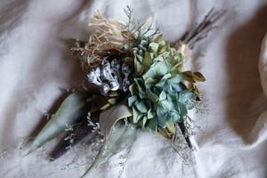 秋色紫陽花のスワッグ