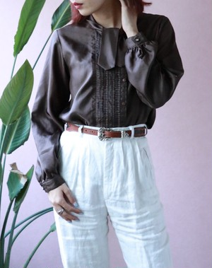 dark brown bow tie blouse