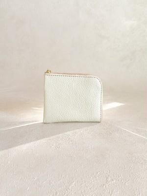 【送料無料】本革 コンパクト L字財布 ミニ シボの美しい クリーム