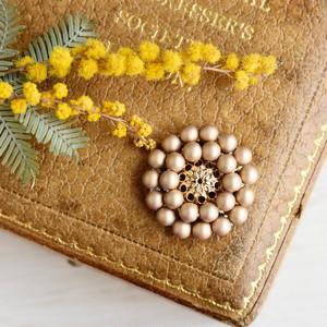 【ブローチ】アンティークレトロなお花 マットゴールド