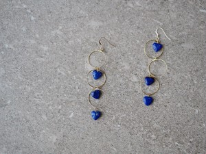 lapis lazuri heart earrings/gold