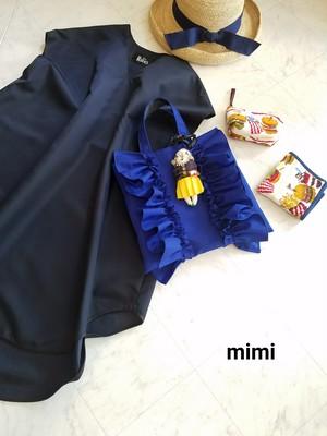 受注予約☆mimi☆フリフリトート☆ブルーSSサイズ