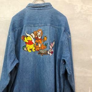 プーさん デニム刺繍 長袖シャツ  #1398