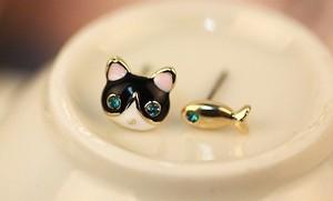 猫好きさんに捧ぐ 黒猫と魚のピアス【d4】