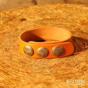 "Leather Bracelet w/ 3 Buttons / ""S,M"" / Silver 925 / Natural"