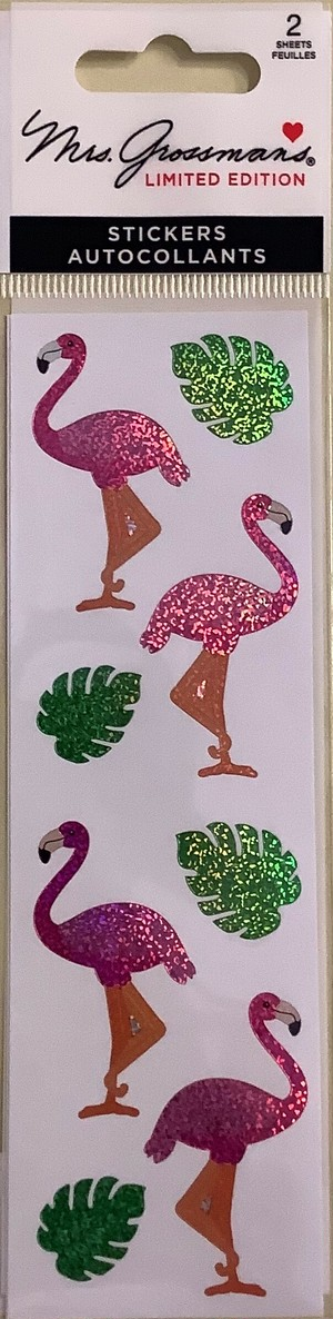 Sparkle Flamingos & Leaves