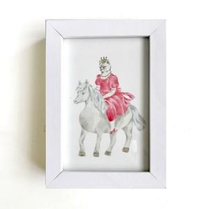 original art 原画『馬にのるねこプリンセス』