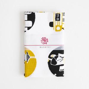 福山名産手拭い 黒×黄土