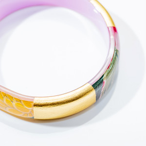 Kimono acrilic resin bangle w gold leaf/13mm