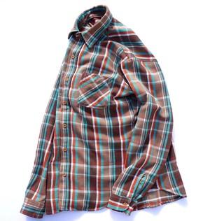 1970's USA製 [BIG MAC] ヘヴィーネルシャツ ブラウン×エメラルド 表記(M) ビッグマック
