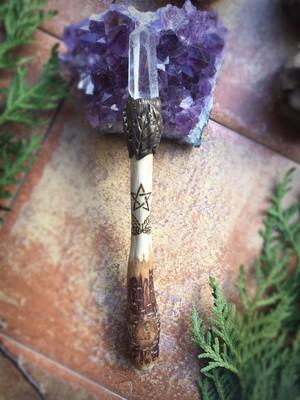 オークの魔法の杖(ワンド)水晶ポイント装着