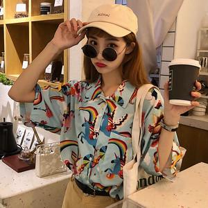 【トップス】レトロプリントスタンドネック半袖ゆるリラックスシャツ43176238