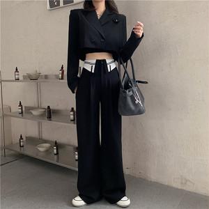 ジャケット ショート丈 ブラック ワイドパンツ パンツ セットアップ 2ピース 大人 きれいめ 着回し 休日コーデ デート お呼ばれ お出かけ こなれ感
