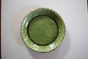 舩木伸児(舩木窯)|スリップウェア プレート 緑釉
