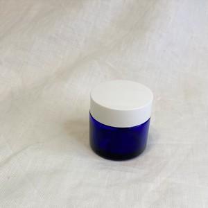青遮光 ガラスクリーム容器 30g用 (白キャップ)