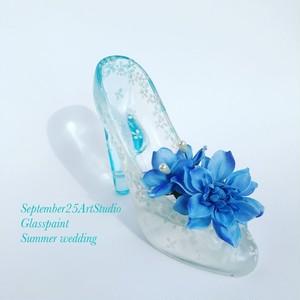 人気No.1ガラスの靴リングピロー 青い花冠【結婚祝いプレゼント】無料ラッピングいたします!