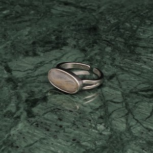OVAL STONE RING SILVER 006
