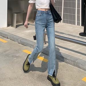 【ボトムス】ファッション無地スリットハイウエスト切り替えデニムパンツ43544989