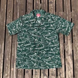 AKIMI DESIGNS HAWAII コットンアロハシャツ HONU ホヌ ウミガメ 表記M オーバーパターン 総柄
