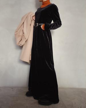 vintage black velours dress