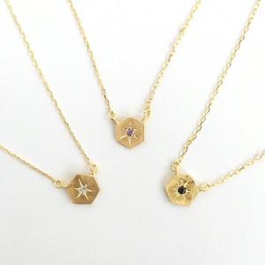 ヴィンテージスタインウェイピアノのパーツを使った彫留めのヘキサゴンネックレス  Vintage steinway and sons piano gem necklace (Hexagon)