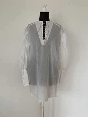 New!!  Leg of mutton dressミニ丈/ Lace up /White (2021 New collection)