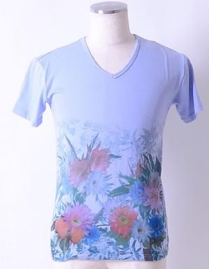 花柄  VネックT シャツ