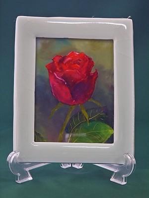 陶フレーム*薔薇のガラス絵(B)