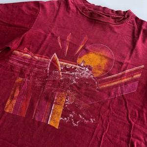 90's オーシャンパシフィック オールドサーフ Tシャツ エンジ Mサイズ