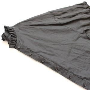 リネンフリル襟シャツ*ブラック