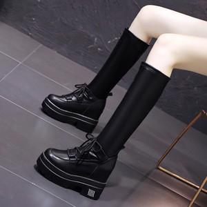 【シューズ】ファッションプラットフォームインヒール暖かい丸トゥロング丈ブーツ36231702