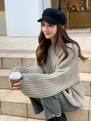 【50%OFF SALE】volume sleeve knit / moca  (即納)
