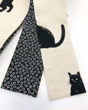 黒猫柄が可愛い女性用半幅帯【黒×桜柄】