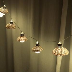 rattan garland room light / ラタン ガーランド ルームライト 傘 ランプ 電球 照明 韓国 北欧雑貨