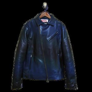 【馬革】2Wayライダースジャケット ブルーブラック グラデーションカラー
