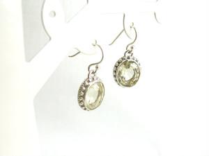 アンティーク風 レモン色の天然石ピアス / SV925
