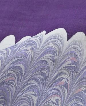 九寸名古屋帯【墨流し】深紫