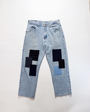 ice wash patchwork denim
