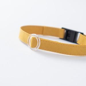 【猫にやさしい布首輪】マスタード 軽量3g やわらか 安全 シンプル ペットシッター考案