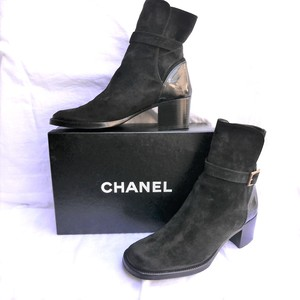CHANEL Black Suede Short Boots